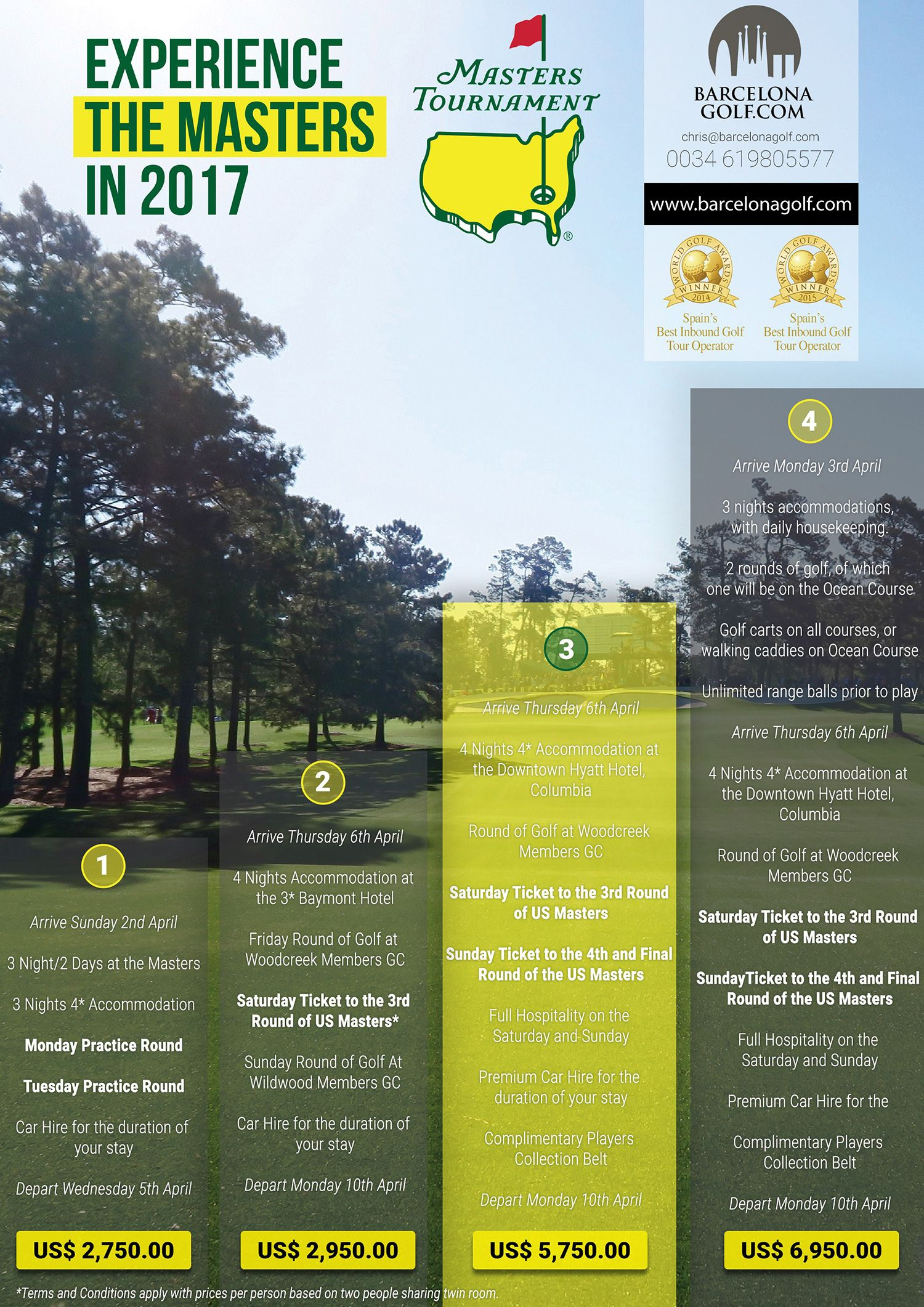Experience The Masters Golf in Augusta in 2017